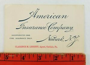 Vintage 1898 American Fire Insurance Company Newark New Jersey Business Card