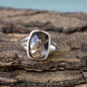 Checker-Cut-Smoky-Quartz-925-Sterling-Silver-Artisan-Handmade-Gift-Ring-Jewelry