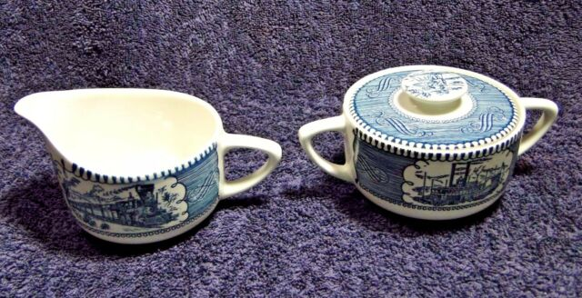 Currier Ives Royal China Blue and White Creamer Sugar with Lid EXCELLENT!