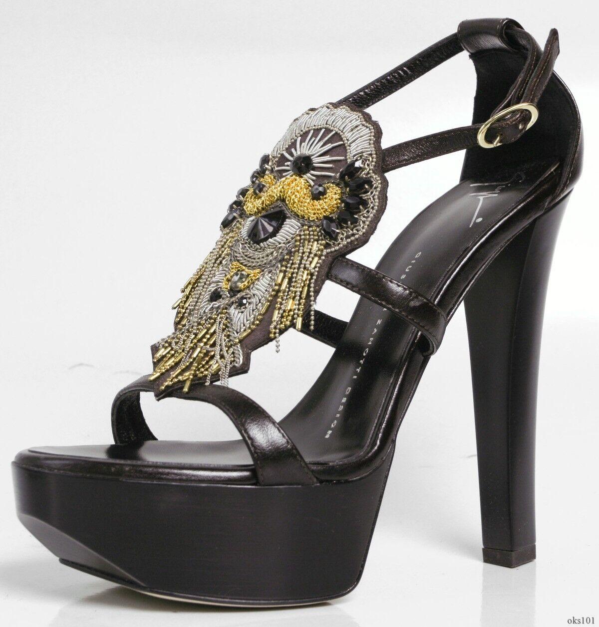 Nuevo  1095 Giuseppe Zanotti con Tiras con cuentas cuentas cuentas de piedras preciosas Plataformas Zapatos Puntera Abierta-Sexy  tiendas minoristas
