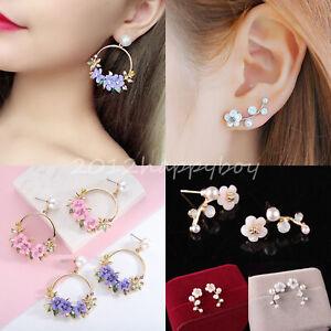 Elegant-Fashion-Personality-Crystal-Flower-Pearl-Ear-Stud-Earrings-Women-Jewelry