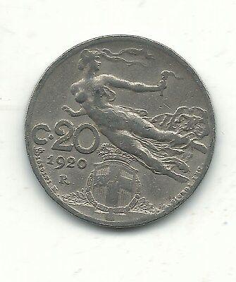 A VERY FINE VF 1920 R ITALY 20 CENTESIMI COIN-FLYING NUDE