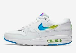 Details about Nike Air Max 1 SE WHITE JEWEL SWOOSH JELLY PHOTO BLUE LIME GREEN AO1021 101 8 14