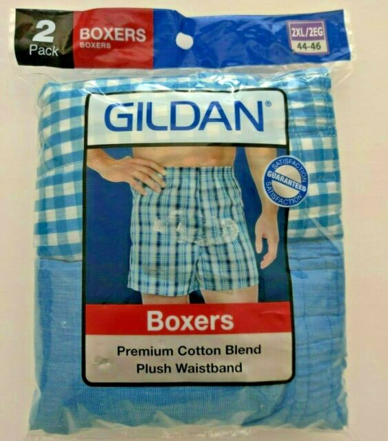 Gildan 2 Pack Boxers Size 2XL Cotton Polyester Blend Plaid New In Package!