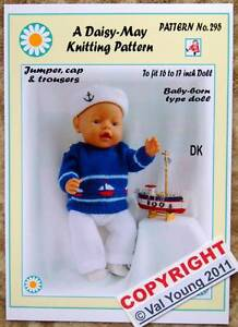 """DOLLS KNITTING PATTERN no 268 for Baby born or 16/""""//17/"""" doll by Daisy-May."""