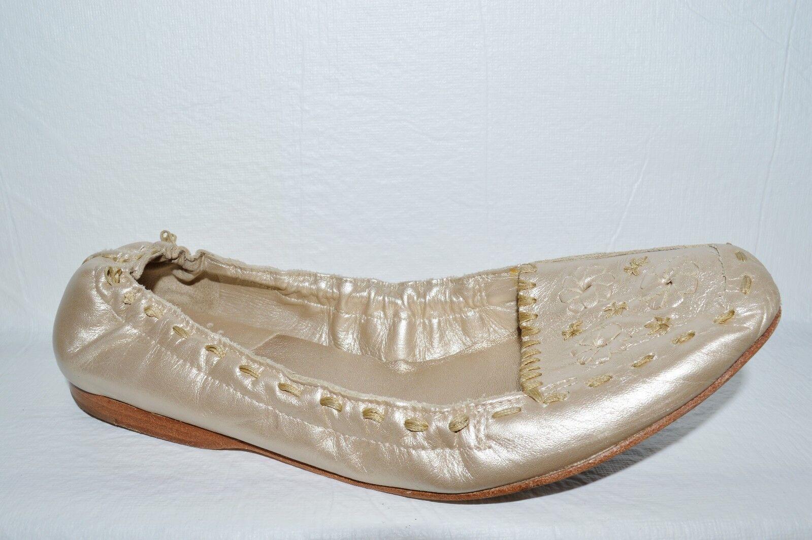 JACK ROGERS SZ 8.5 M METALLIC CHAMPAGNE GOLD LEATHER BALLET FLATS