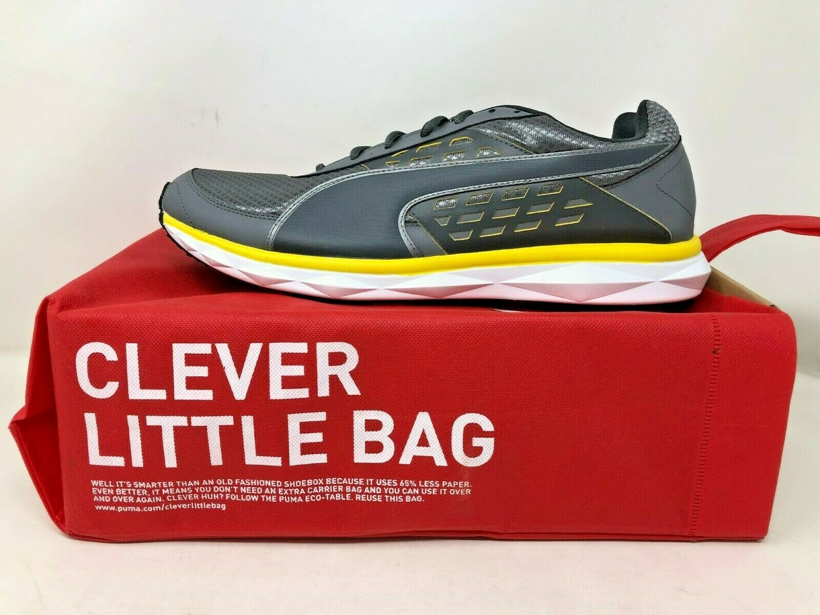 NEW    Puma Men's Lace Up Athletic shoes Grey Yellow Wht Size 14  18580802 g8 a f35320
