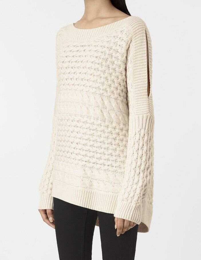 * Promotion Spéciale Objet ** Allsaints Reed Col Bateau à Grosses Mailles Pull. Large. £ 168-s Reed Boat Neck Chunky Knit Jumper.large.£168