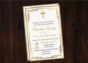 Details About Baptism Invitation Gold Digital File JPEG You Print English Spanish