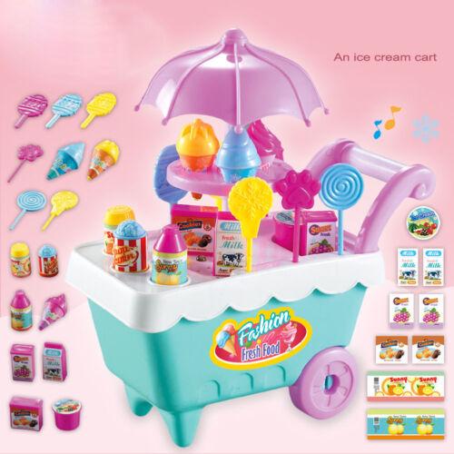 19pcs Set Ice Cream Trolley Cart Plastic Pretend Play Food Dessert Toy Kids