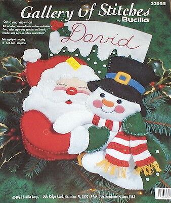 "1996 Bucilla ""Santa & Snowman"" Felt / Jeweled Christmas Stocking Kit NIP"