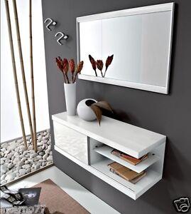 Consolle Ingresso Specchio.Dettagli Su Mobile Moderno Ingresso Mod Kelly 404 Bianco Opaco Consolle Specchio L 88 2