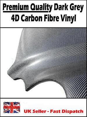 1520mm x 600mm Dark Grey 4D Carbon Fibre Air Drain Vinyl - Car Wrap / Sticker