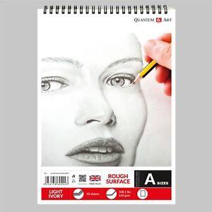 160gsm Sketch Pad Rough Ivory Light Drawing Artist Paper GUMMED Book