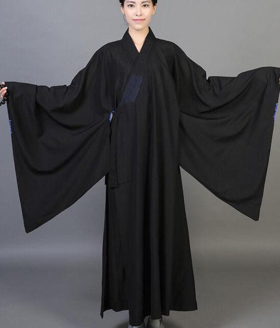 Buddhist Monk Shaolin Dress Meditation Haiqing Robe Long Gown Kung Fu Suit Ske15