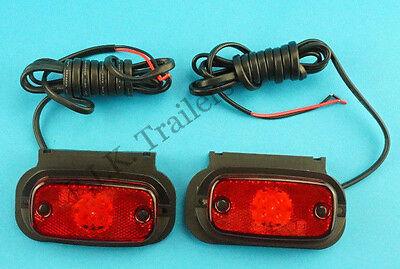 2 x Perei LED RED Rear Marker Lamp & VERTICAL Bracket 12v 24v    #F708  #TR