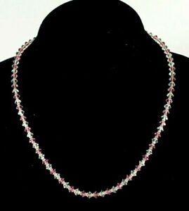Vintage-Pink-and-Clear-Glass-Crystal-5mm-Bead-Necklace-Rhinestone-Clasp