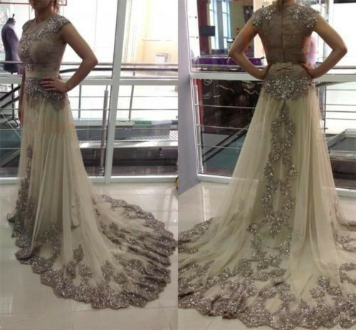 Lace Applique Beaded Long Evening Party Dress Celebrity Formal Prom Pageant Gown