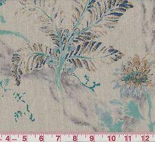 100% Linen P Kaufmann Hammond Lagoon Floral Print Drapery Fabric BTY