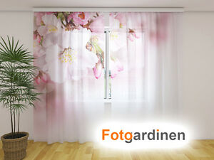 fotogardinen aus chiffon bl te vorhang mit motiv. Black Bedroom Furniture Sets. Home Design Ideas
