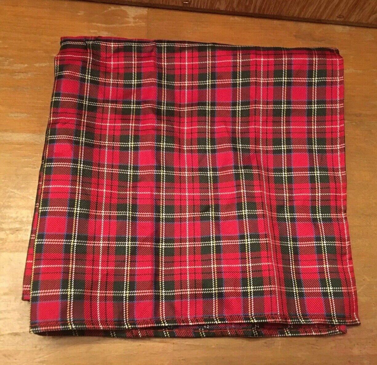 Tommy Hilfiger Silk Pocket Square NWOT Tartan Plaid 100% Silk TOMMY