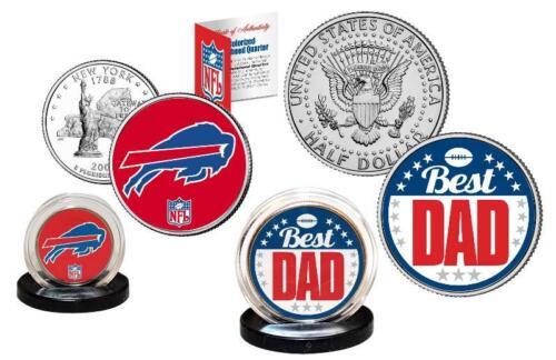 Best Dad BUFFALO BILLS 2-Coin Set US Quarter and JFK Half Dollar NFL LICENSED