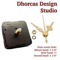(017) Quartz Clock Movement Kit 3/16 Threaded Quiet Motor & 1 1/4 Gold Hand