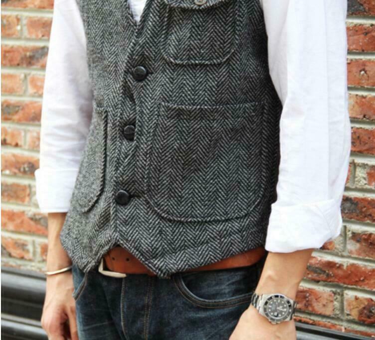 Retro Mens Tweed Business Formal Slim Fit Wool Blend Casual Vest Waistcoat Coat