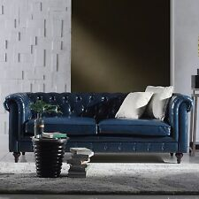86''L Restoration Chesterfield Industrial Genuine Top Grain Blue Leather Sofa