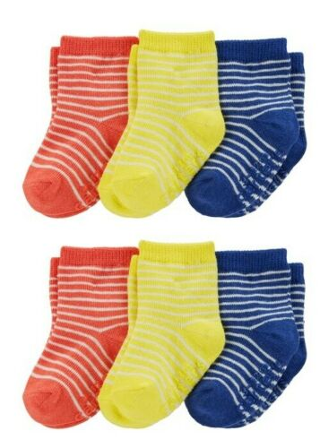 Carter/'s Infant Boys 6 Pair Two 3-Pack Primary Colors Striped Socks NWT