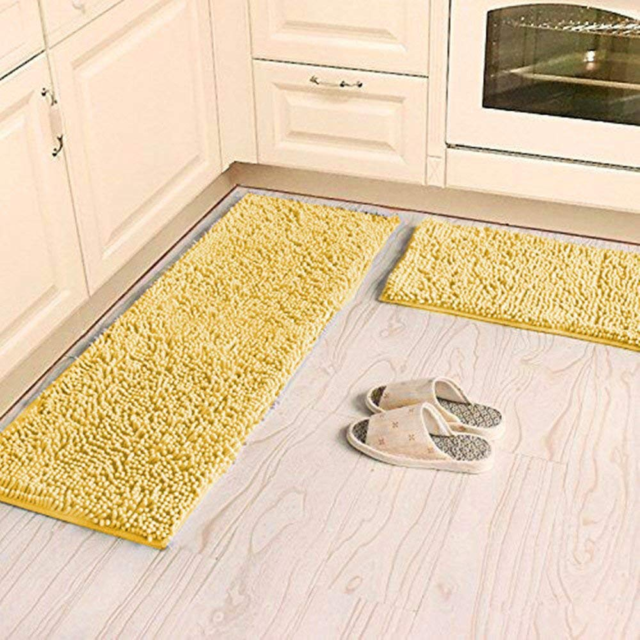 Ustide Shaggy Chenille Rug 2 Piece Kitchen Set Washable Yellow Bathroom Mat Rugs For Sale Online Ebay