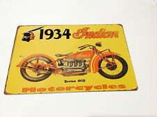 INDIAN BIKE GARAGE 1930s Motorcycle Wall art POSTER  Sign Tin Plaque PICTURE USA