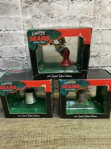 Sears Christmas Minatures Ornaments Set Of 3 In Box 1995 Vintage