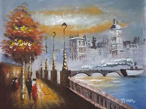 Pittura Su Tela Con Colori Ad Olio Tema Paesaggio Londinese Misura ...