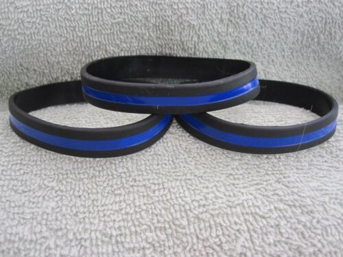 3 Thin Blue Line Wristbands TBL Memorial Support Silicone Bracelets TBL Cops