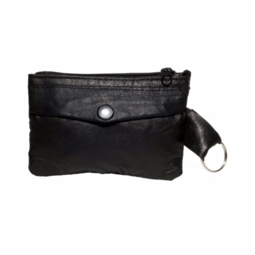 GHS Black Soft Nappa Leather Key And Coin Purse With Zipped Key Ring Holder.