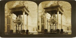 Italia Roma Basilique st. Paul L Altare, Foto Stereo Vintage Analogica