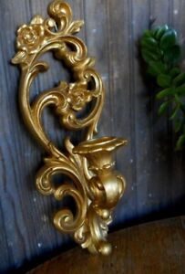 Hollywood Regency VINTAGE  Gold Homco ORNATE WALL SCONCE CANDLE HOLDER Plastic