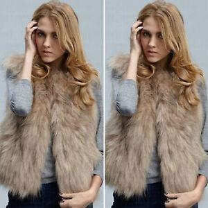 online store 28201 0d77e Details zu Damen Kunstfell Weste Ärmellos Winterjacke Mantel Jacke  Fellweste Gilet Cardigan
