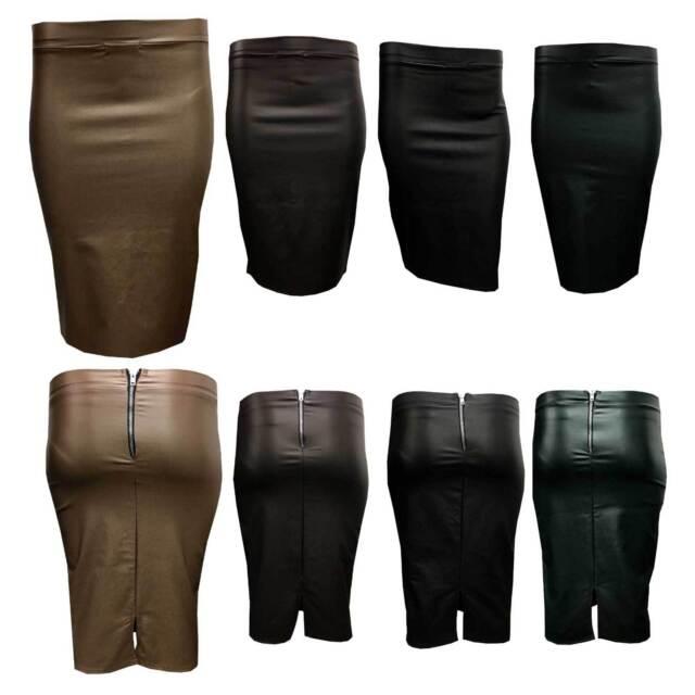Womens Midi Pencil Office Skirt Ladies Wetlook Leather Plain Tube with back zip