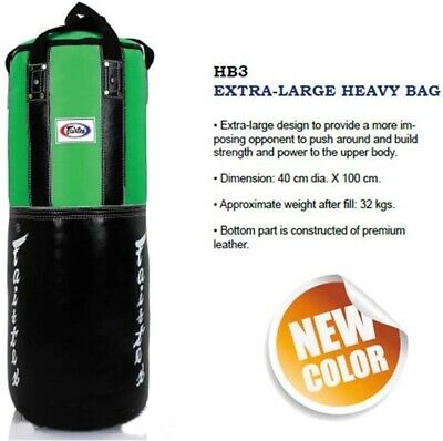 HB3 FAIRTEX SANDBAG 3FT GREEN//BLACK HEAVY BAG EXTRA LARGE UNFILLED