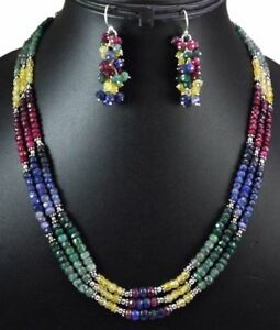 3-Strings-Natural-Ruby-Emerald-Sapphire-925-Silver-Gem-Beads-Necklace-amp-Earrings