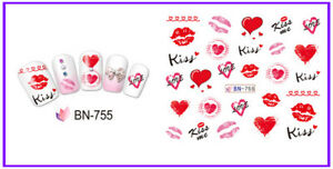 Nail-Art-Water-Decals-Stickers-Transfers-Valentines-Postmark-Love-Hearts-BN755