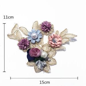 Con-Cuentas-Encaje-Aplique-Bordado-Boda-Vestido-Motivo-3D-Floral-DIY-Ribete-1PC