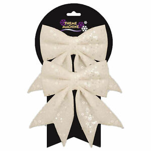 Christmas Tree Bows White.Details About Christmas Tree Decoration 2 Pack 16cm Glitter Sequin Bows White
