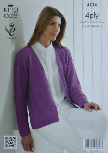 KNITTING PATTERN Ladies Long Sleeve Moss Stitch Jumper Bamboo Cotton 4ply 4134