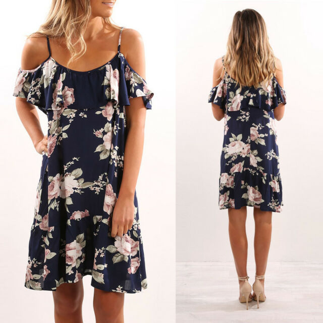 Sexy Women's Bodycon Evening Party Cocktail Short Dress Cold Shoulder Floral