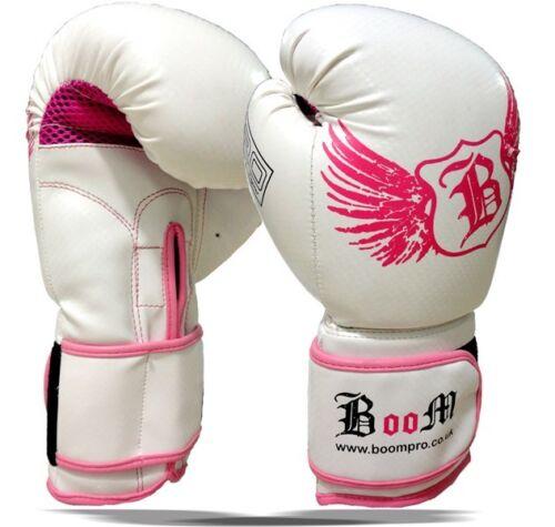 Boxing Gloves Womens Leather Gel MMA Punch Bag Muay Thai Ladies Training 10 OZ