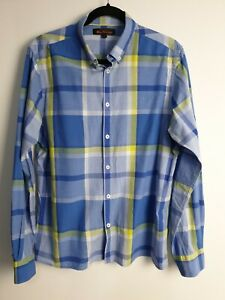 Ben-Sherman-Blue-Green-Long-Sleeve-Men-039-s-Shirt-Size-L