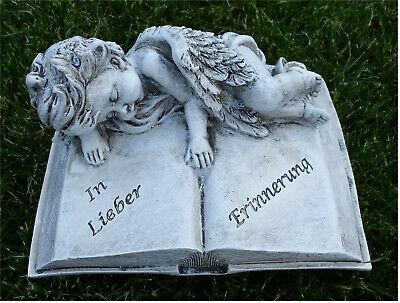 Trauerengel Grabschmuck Engel auf Buch *In lieber Erinnerung* beige-antik 16cm